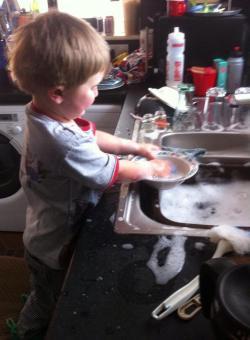 Rory washing up