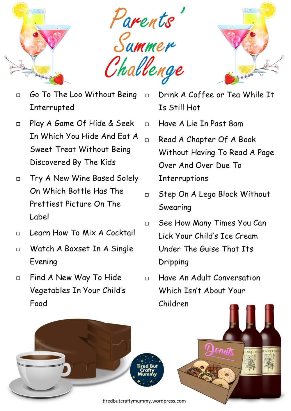 Adult Summer Challenge Printable 2020
